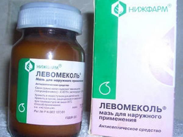 Бутылка и коробка Левомеколь